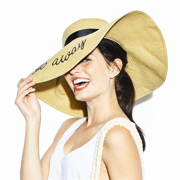 State of Mind Straw Sun Hat with a Statement - Black Embroidered - 16-3/4-in FINAL SALE