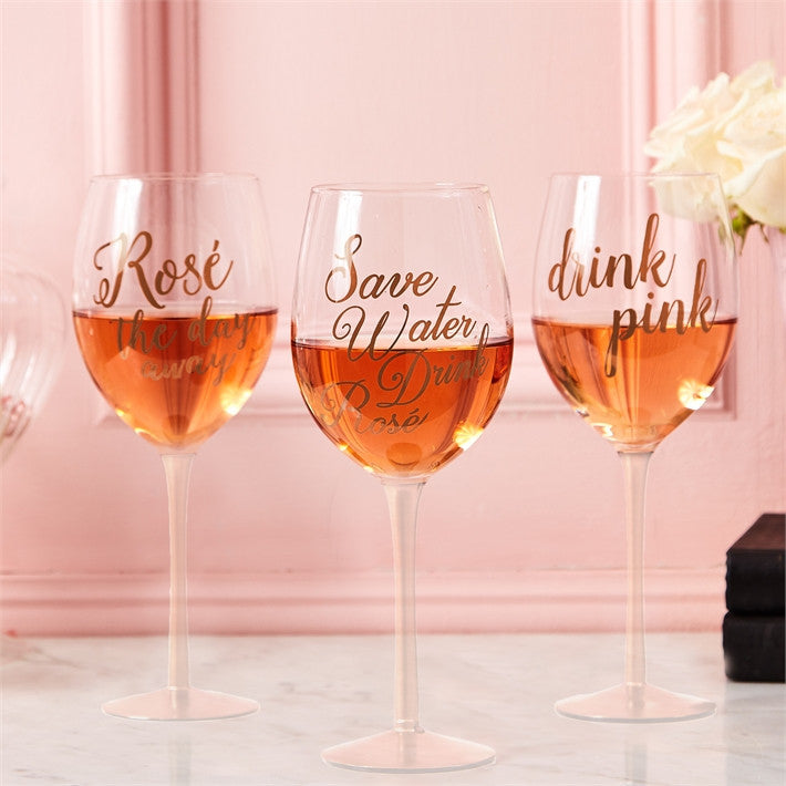 Two's Company Drink Pink Rosé Wine Glass with Rose Gold Lettering Gift Boxed