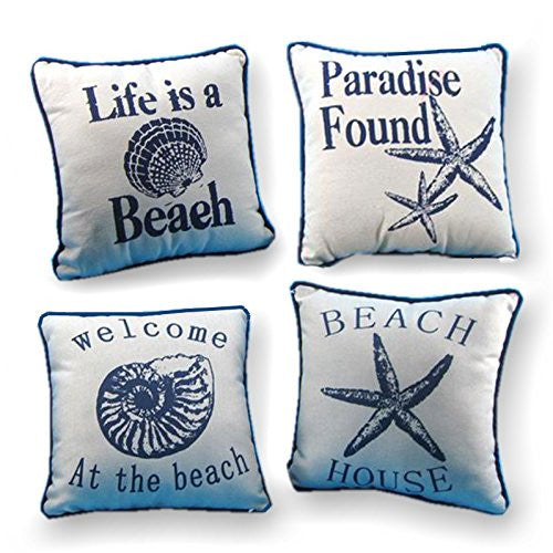 "10"" Nautical Throw Pillow 4 Piece Set - Mellow Monkey"
