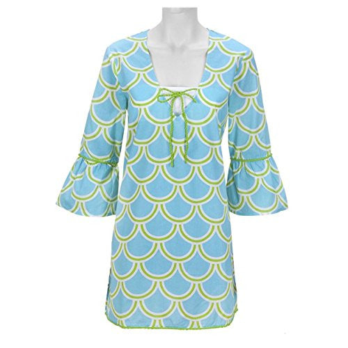 Harbor Bae Drawstring Women's Beach Tunic (LARGE (44 chest / 34.75 length), Turquoise / Green) - Mellow Monkey