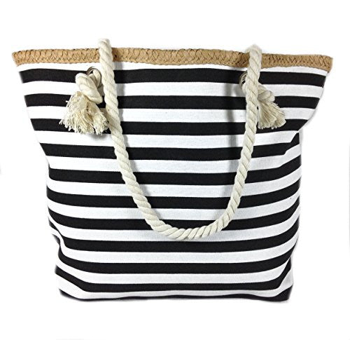 Banded Striped Beach Town Tote Bag with Rope Handles (Black and White) - Mellow Monkey