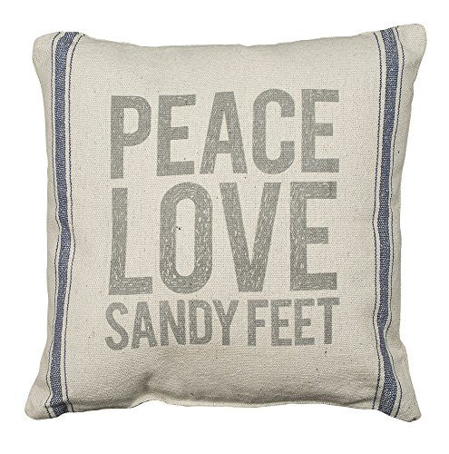 PEACE, LOVE, SANDY FEET - Coastal Decor Pillow - Canvas with Blue Stripes 15-in - Mellow Monkey