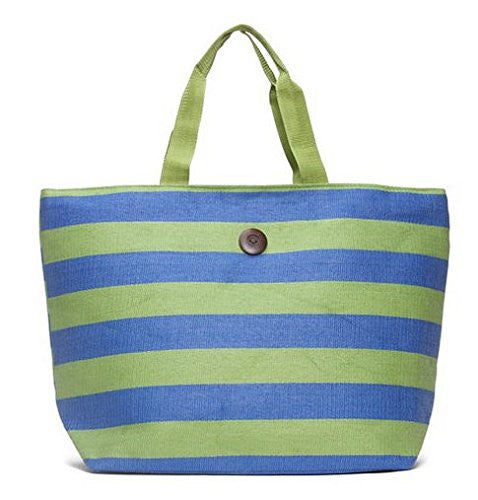Cappelli Straworld Extra Large Toyo Striped Beach Town Tote Bag (Green & Blue) - Mellow Monkey