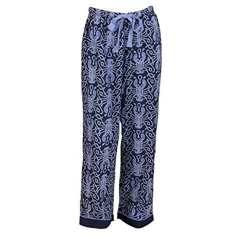 Maine Squeeze Drawstring Women's Lounge Pants - Navy / Cornflower (SMALL (19.5 w drawstring waist 40 h)) - Mellow Monkey
