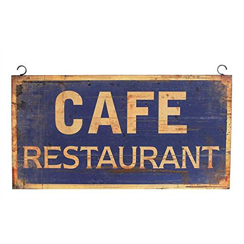 Vintage CAFE RESTAURANT Hanging Metal Wall Decor Commercial Home Kitchen - Mellow Monkey