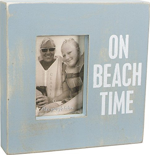 On Beach Time - Weathered Beach Box Photo Frame 10-in Aqua for 4x6-in Photos - Mellow Monkey