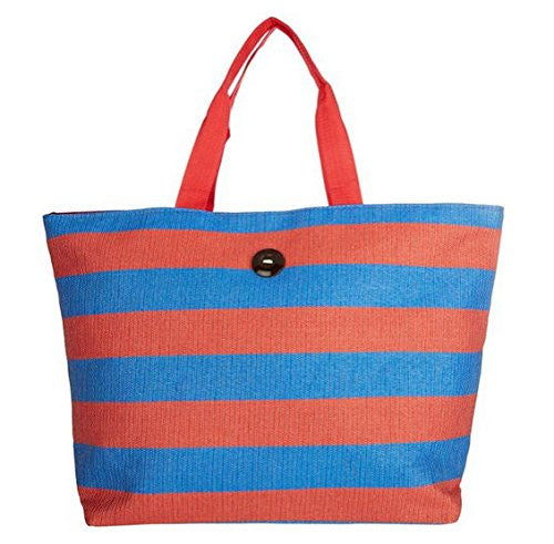 Cappelli Straworld Extra Large Toyo Striped Beach Town Tote Bag (Red & Blue) - Mellow Monkey