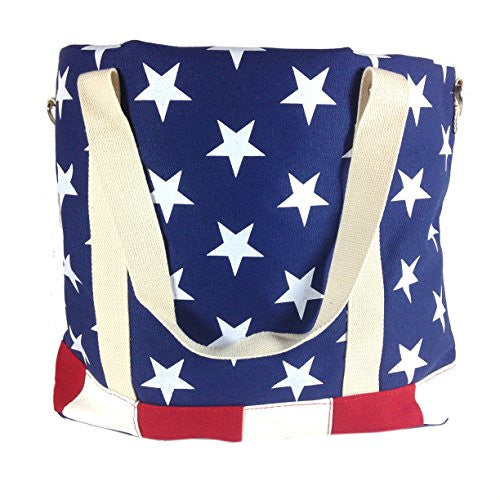 American Flag - Canvas Tote Bag - 18-in - Mellow Monkey