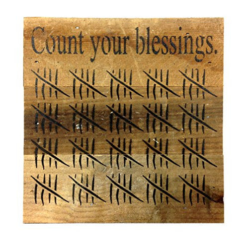 Count Your Blessings with Tick Marks - Reclaimed Wood Art Sign - 6-in x 6-in - Mellow Monkey
