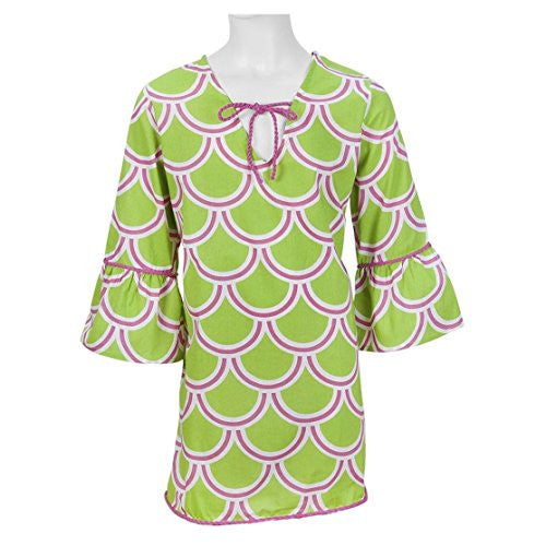Harbor Bae Drawstring Women's Beach Tunic (X-LARGE (46 chest / 35.25 length), Pink / Green) - Mellow Monkey