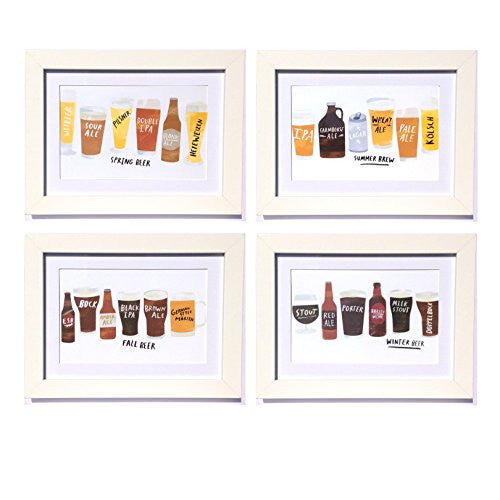Seasonal Craft Brew Framed Art Prints - Set of 4 - 5-in x 7-in - Mellow Monkey