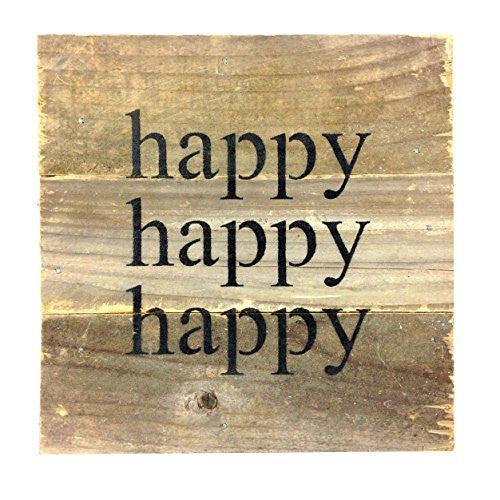 Happy Happy Happy - Reclaimed Tobacco Lath Art Sign 6-in X 6-in - Mellow Monkey