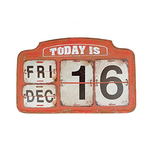 Turn of the Century Perpetual Calendar Metal Wall Hanging-Reproduction Antique Railroad Sign On Easel - 16-3/4-in L x 10-in H - Mellow Monkey