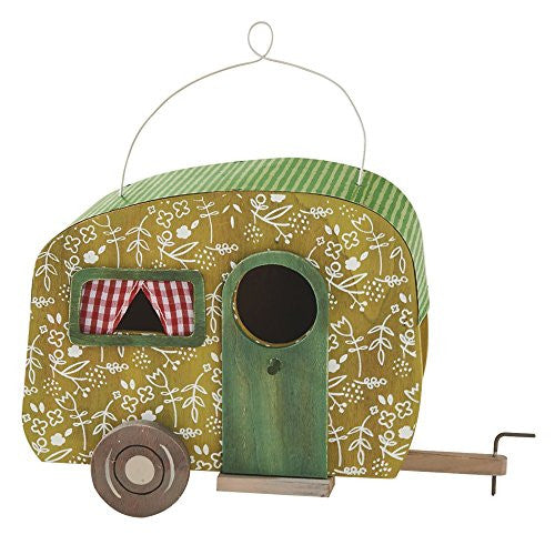 Decorative Camper Birdhouse (Green Floral) - Mellow Monkey