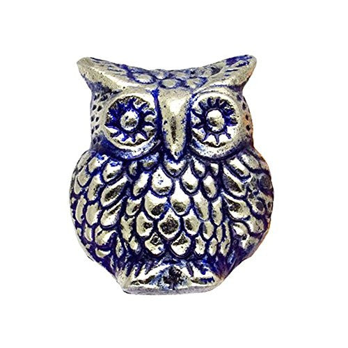 Wise Old Owl Metal Drawer Dresser Cupboard Pull Knob - Silver Finish with Blue - Mellow Monkey