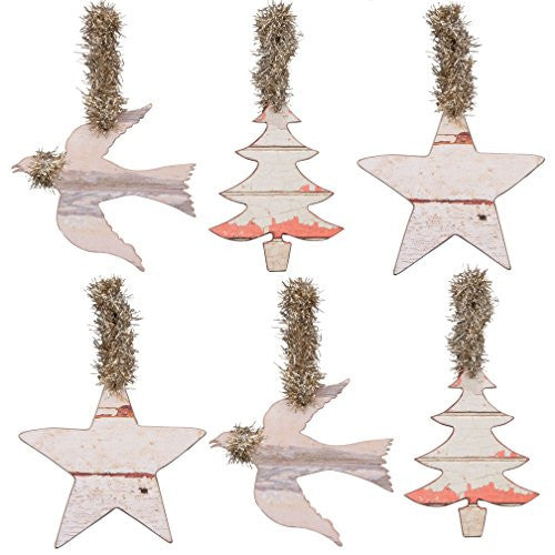 Weathered Beach Dove, Tree and Star Holiday Ornament Set - 6 - Mellow Monkey
