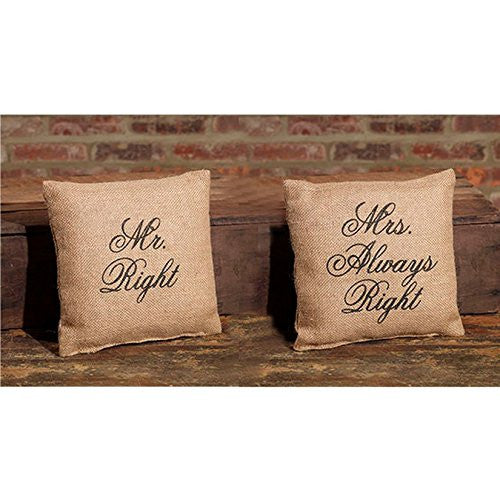 Mr. Right and Mrs. Always Right - Flea Market Jute Accent Throw Pillow Set - 8-in x 8-in each - Mellow Monkey