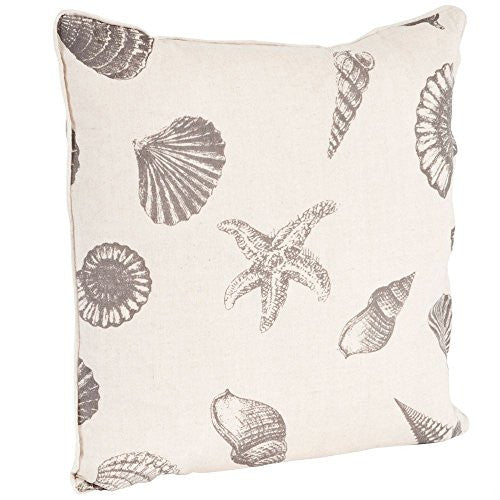 Nautical Beach Print Down Filled Throw Pillow - 18-in (Taupe on Natural) - Mellow Monkey