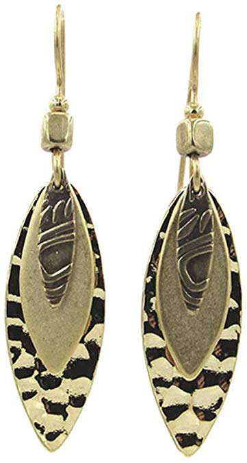 Silver Forest Gold Layered Footballs Dangle Earrings