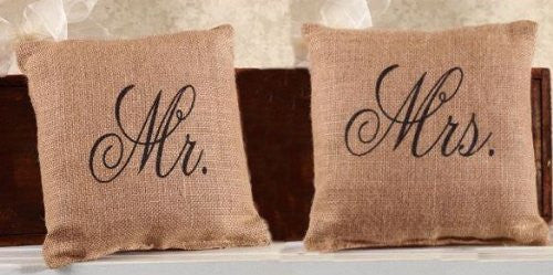 Mr. and Mrs. French Flea Market Jute Accent Throw Pillow Set - 8-in x 8-in each - Mellow Monkey