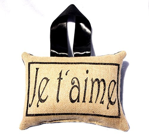 French Lover's Flea Market Burlap Accent Throw Pillow - Handmade (je t'aime) - Mellow Monkey