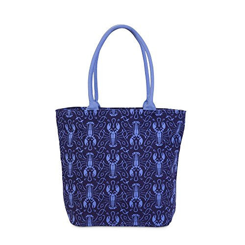 Maine Squeeze Beach Tote Bag - Lobster Print in Navy / Cornflower - Mellow Monkey