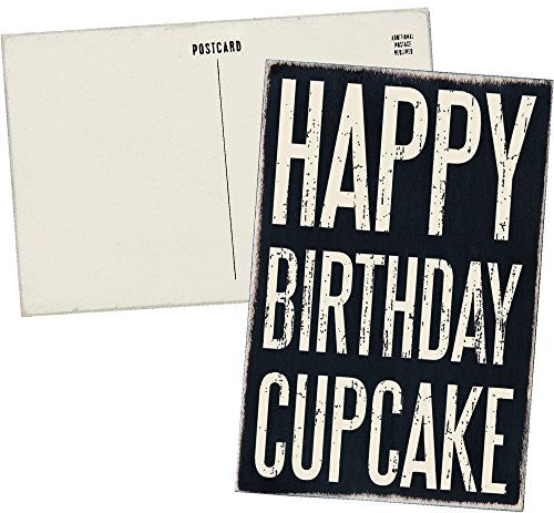 Happy Birthday Cupcake - Mailable Wooden Greeting Card for Birthdays, Anniversaries, Weddings, and Special Occasions - Mellow Monkey