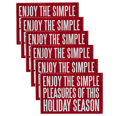 Enjoy the Simple Pleasures of this Holiday Season - Set of 6 Wooden Christmas Holiday Seasons Greetings Postcards - Mellow Monkey