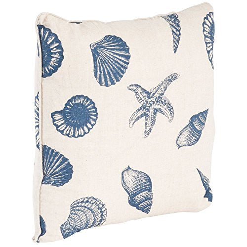 Nautical Beach Print Down Filled Throw Pillow - 18-in (Indigo on Natural) - Mellow Monkey
