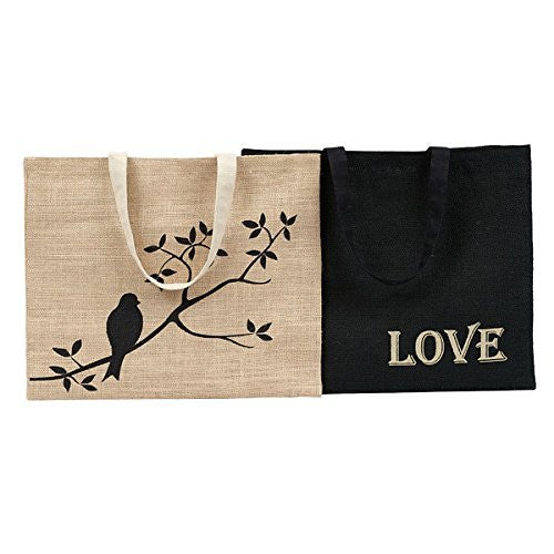 Design Imports Burlap Shopping Totes - Set of Two 28301 - Mellow Monkey