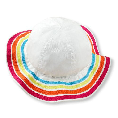 Colorful Ribbon White Wide Brim Sun Hat - Girls (Small 6-12 mo) - Mellow Monkey