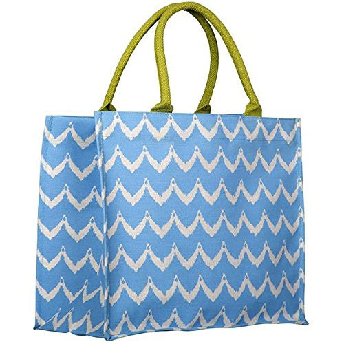 Rock Flower Paper Fashion Market Totes (Chevron Blue) - Mellow Monkey