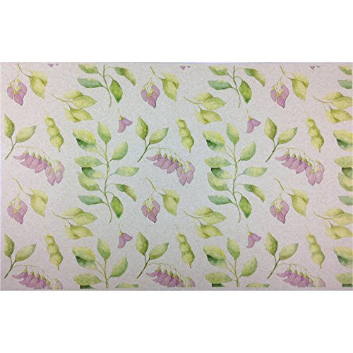 French Paper Dining Placemats - Set of 12 (Sweet Pea Floral (Green Violet-50 count bulk pack)) - Mellow Monkey