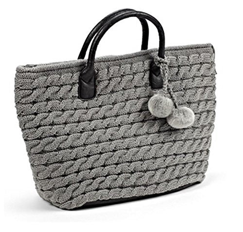 Stylish Cable Knit Tote Bag with Pom Poms - Grey - Mellow Monkey