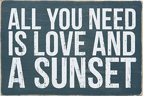 All You Need Is Love And A Sunset - Mailable Wooden Greeting Post Card 6-in - Mellow Monkey