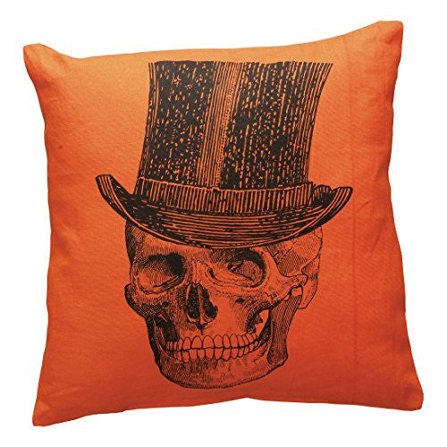 Top Hat Skeleton Decorative Pillow - Orange with Black Skull Graphic - 15-in Square - Mellow Monkey
