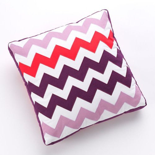 Geo Chic Multi Colored Chevron Large Throw Pillow - 18x18 - Mellow Monkey