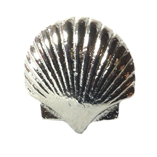 Vintage Seascape Shell Drawer Cabinet Cupboard Pull Knob (Scallop Shell - Silver/Pewter) - Mellow Monkey