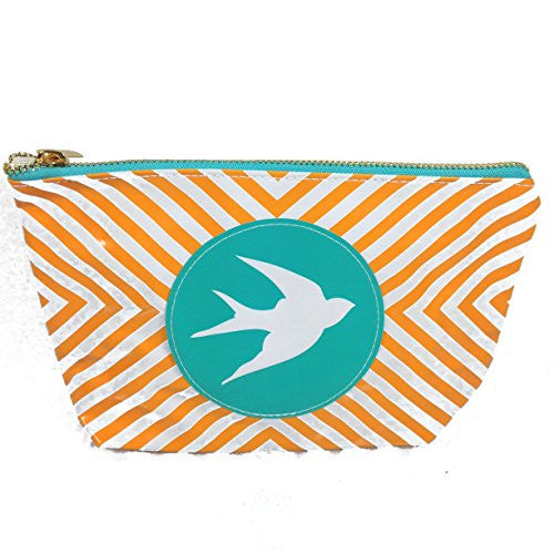 Chit Chat Patent Leather Zippered Cosmetic Case Pouch Bag (Bird) - Mellow Monkey