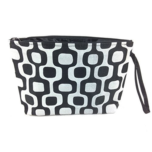 Colorful Geometric Floral Cosmetic Bag - 10-3/4-in (Black & White Squares) - Mellow Monkey