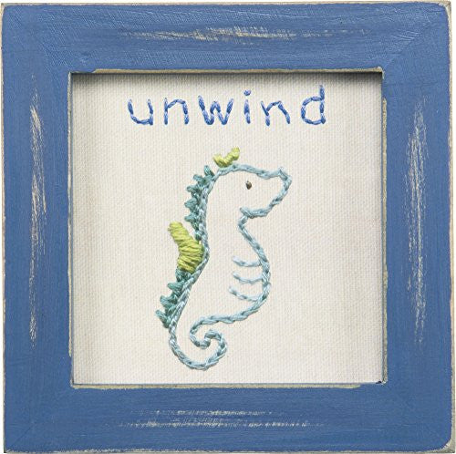 Good Life at the Beach Printed Stitchery Framed Sign (Unwind-Seahorse) - Mellow Monkey