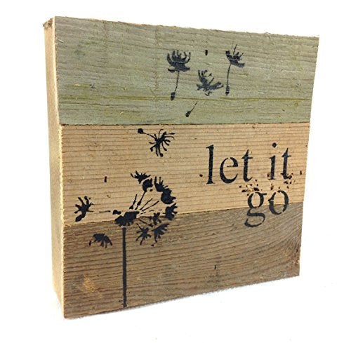 Let It Go - Reclaimed Tobacco Lath Art Sign 6-in X 6-in with Dandelion - Mellow Monkey