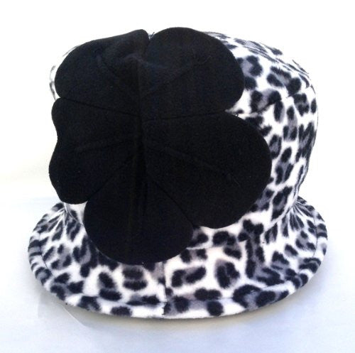 Jeanne Simmons Women's Small Brim Polar Fleece Bucket Hat (Black & White Cheetah - Black Flower) - Mellow Monkey