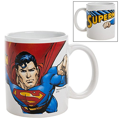 Officially Licensed Warner Brothers DC Comics Superman in Flight Coffee Mug - 12 ounces each - Mellow Monkey