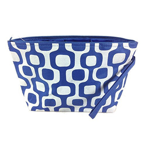 Colorful Geometric Floral Cosmetic Bag - 10-3/4-in (Blue & White Squares) - Mellow Monkey