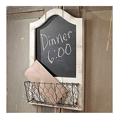 Vintage Wood 'N' Wire Chalkboard with Letter Mail Holder - 19-in - Mellow Monkey
