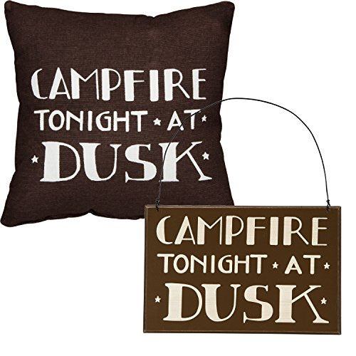 Campfire Tonight At Dusk - Camper's Gift Set - Decorative Sign and Throw Pillow - Cabin Lake Country - Mellow Monkey