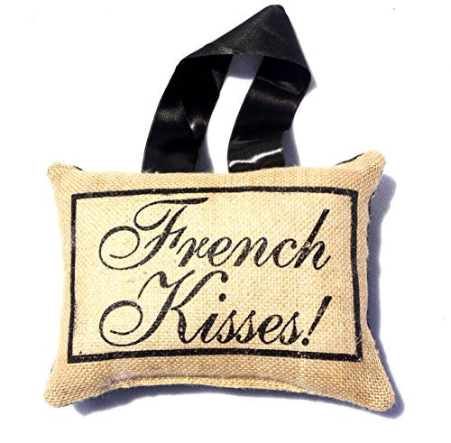 French Lover's Flea Market Burlap Accent Throw Pillow - Handmade (French Kisses) - Mellow Monkey
