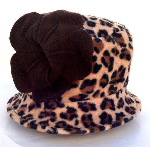 Jeanne Simmons Women's Small Brim Polar Fleece Bucket Hat (Brown Cheetah - Brown Flower) - Mellow Monkey