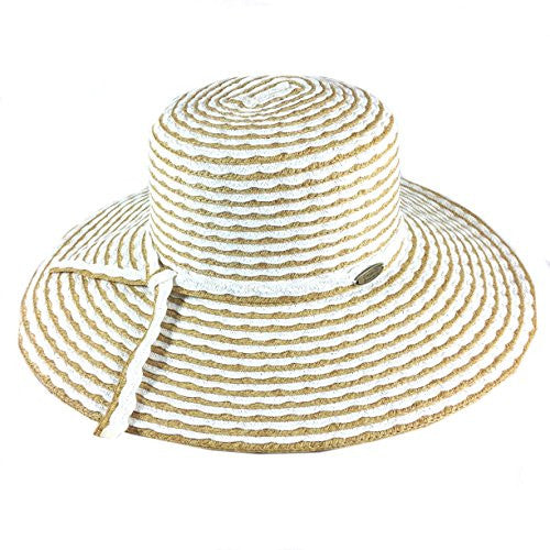 Cappelli Straworld Wide Brim Straw Sun Hat with UPF 50+ Sun Protection (White) - Mellow Monkey